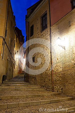 Picturesque street of old european city in night