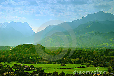 Picturesque view of the Alps