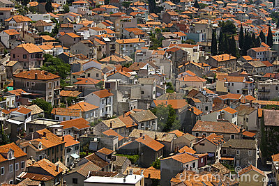 Picturesque view on Sibenik roofs