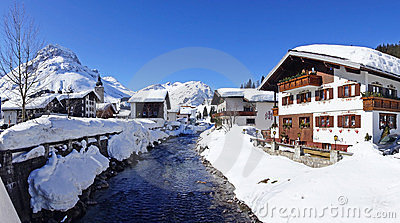 Picturesque winter landscape with river. Lech