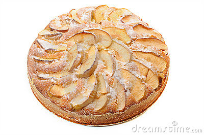 Pie with apples on a white background