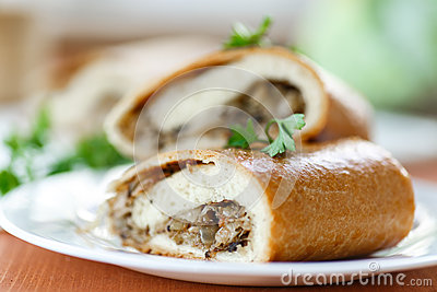 Pie with cabbage and mushrooms
