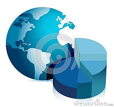 Pie chart and globe illustration design