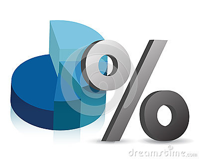 Pie chart and percentage symbol illustration