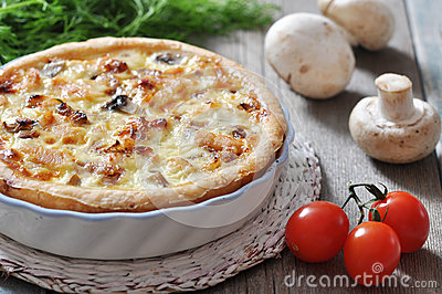 Pie with chicken and mushroom
