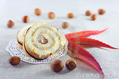 Pie decorated with nuts and autumn leaves