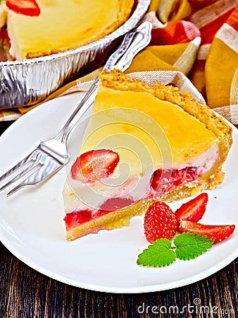 Free Pie Strawberry With Sour Cream On Dark Board Stock Photo - 67688580