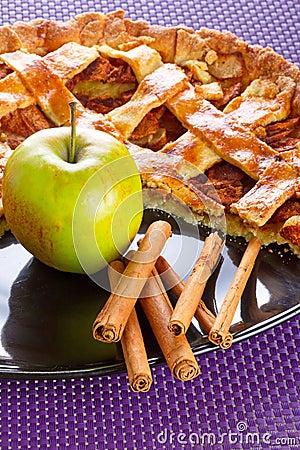 Piece of apple tart with cinnamon