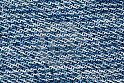 Piece of blue denim fabric structure
