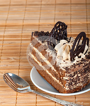 Piece of the cake is decorated with chocolate