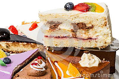 Piece of cake with fruit  close-up