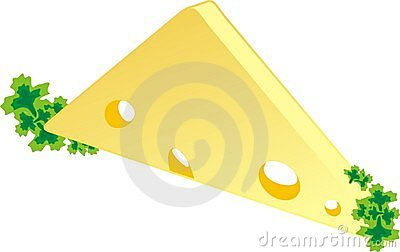 Piece of a cheese with parsley