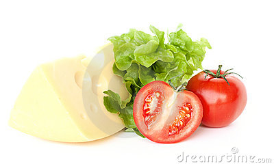 Piece of cheese, tomatoes and salad
