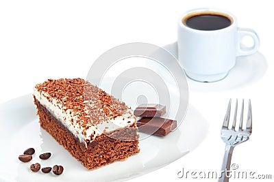 Piece of chocolate cake and coffee.