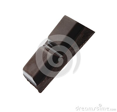 Piece of delicious dark chocolate isolated. On white stock photo