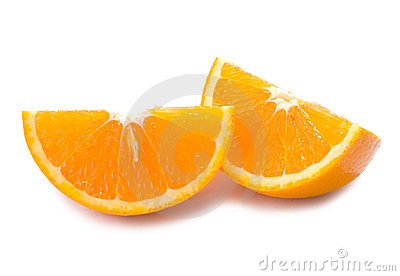 Piece of fresh orange fruit with shadow