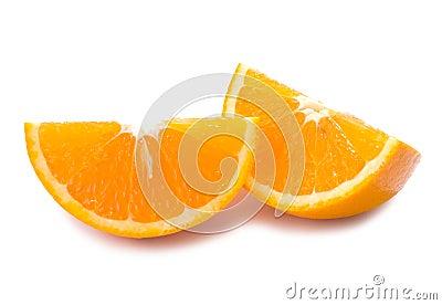 Piece of fresh orange fruit with shadow