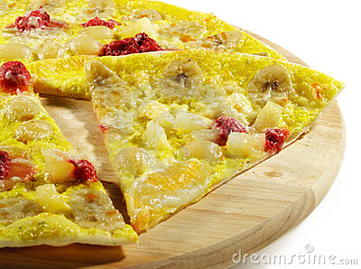 Piece of Fruit and Berry Pizza