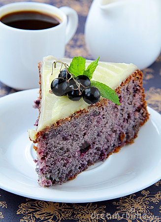Piece of fruit currant cake