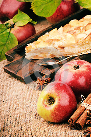 Piece of homemade apple pie