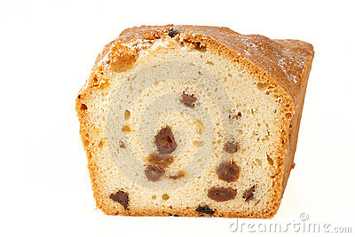 Piece of raisin cake isolated
