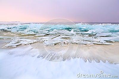 Pieces of broken ice on north sea