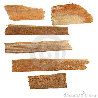 Pieces of broken planks of beech isolated