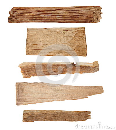 Pieces of broken planks isolated on white