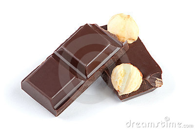 Pieces of chocolate bar with nuts