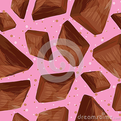 Pieces of chocolate on a pink background