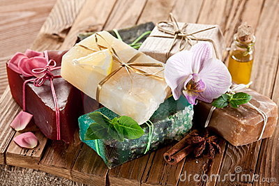 Pieces of natural soap.