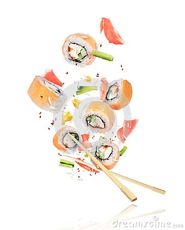 Free Pieces Of Fresh Sushi With Chopsticks Frozen In The Air On White Royalty Free Stock Photography - 116713137