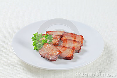 Pieces of salt pork