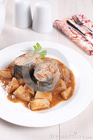 Pieces of stewed mackerel with vegetable stew
