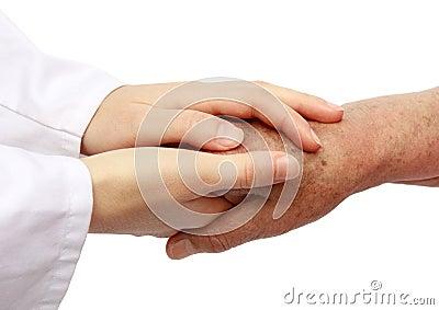 Pielęgniarka pomaga szpitalny senior
