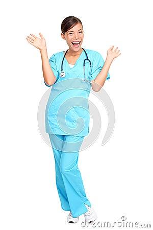 Pielęgniarka z podnieceniem medyczni profesjonaliści