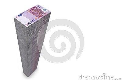 Pieniędzy 500 duży euro notatek wypiętrzają szerokiego
