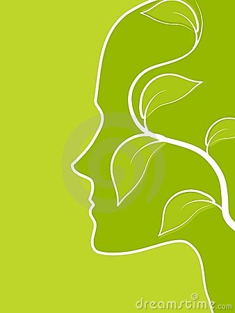 Piense la vid verde de la hoja del perfil de la cara