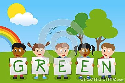 Piense a los niños verdes