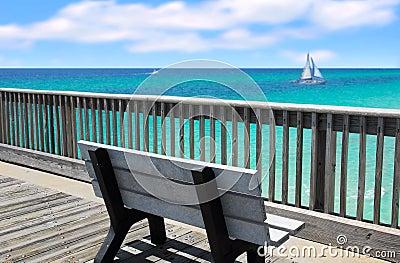 Pier Bench Overlooking Ocean