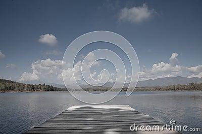 Pier in Blue lake - Thailand