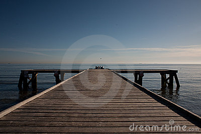Pier on the blue sky