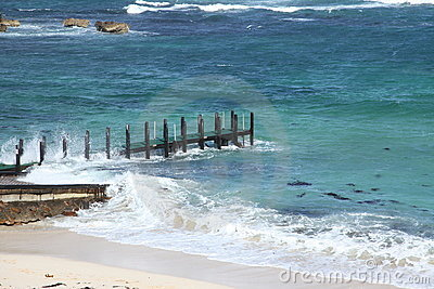 Pier choppy seas