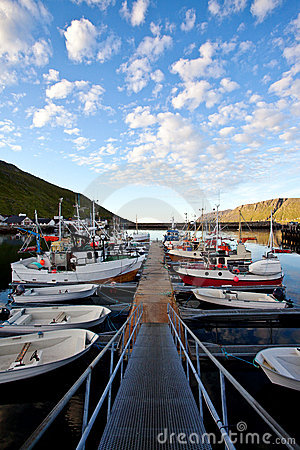 Pier with fishing boats