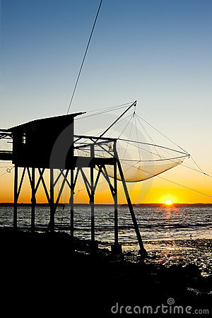 Pier with fishing net