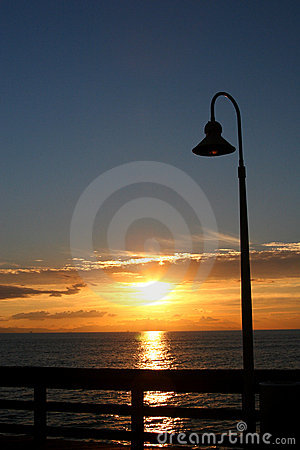 Free Pier Lamp Post Sunset Stock Photography - 47322