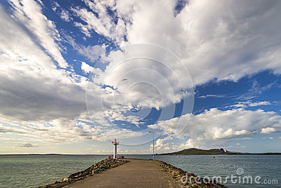 Pier with lighthouse sea view ireland howth stock photo for Seaview fishing pier