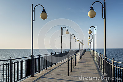 Pier in Miedzyzdroje at Baltic sea, Poland
