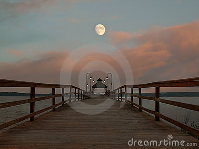Pier and moon scene