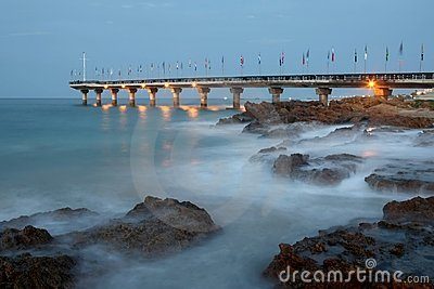 Pier and Rocks at Dusk